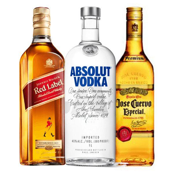 Pack Jhonnie Walker Red Label 750ml + Vodka Absolut Original 750ml + Tequila José Cuervo Reposado 750ml Licoreria247